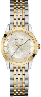 Bulova Women's Diamond Accent Two-Tone Stainless Steel Bracelet Watch 27mm 98P148 $375 thestylecure.com
