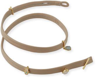 Tai Leather Wrap Bracelet with Charms, Beige