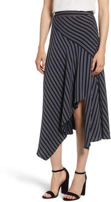Chelsea28 Stripe Asymmetrical Drape Skirt