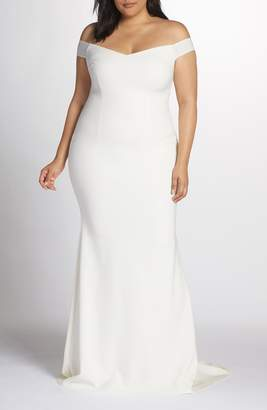 Katie May Noel and Jean by Alpha Off the Shoulder Trumpet Gown