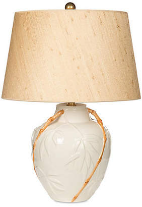 One Kings Lane Bradburn Home For Embossed Bamboo Table Lamp - White/Tan
