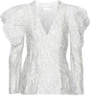 Carmen March Wrap-Effect Crinkled Coated Gazar Blouse