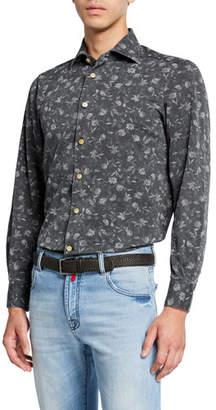 Kiton Men's Floral Chambray Dress Shirt