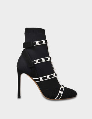 Valentino Rockstud Bodytech Booties in Black and White Nylon, Suede and Plastic Studs