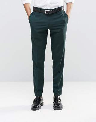 Asos DESIGN Slim Suit Pants With Stretch In Dark Green