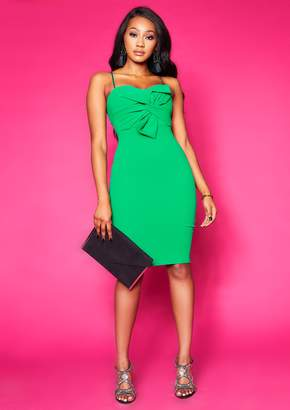 bfdf77e1d9 Missy Empire Missyempire Courtney Green Bow Front Midi Dress