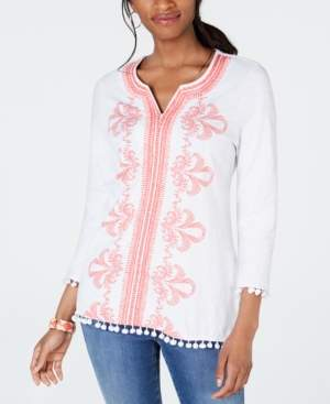 Charter Club Cotton Embroidered Pom-Pom Top, Created for Macy's