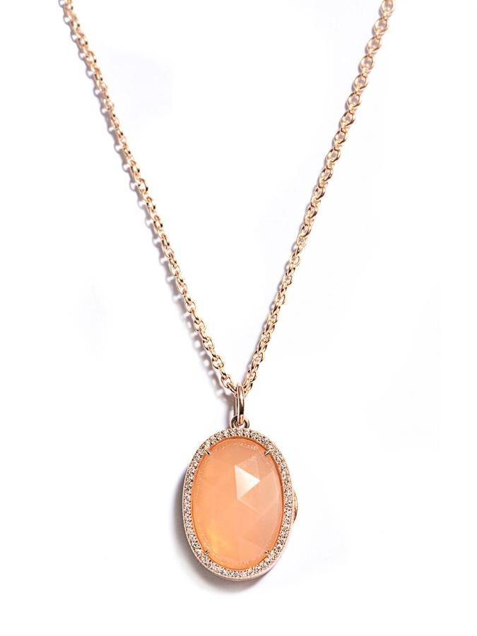 Irene Neuwirth Diamond, Moonstone & gold locket necklace