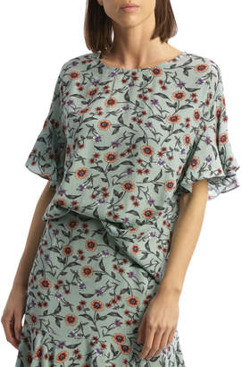 Basque Aegean Floral Flute Sleeve Top