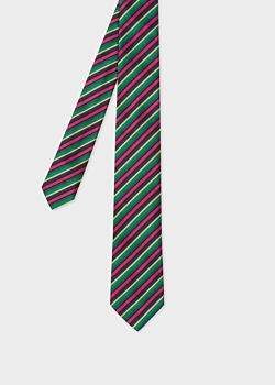 Paul Smith Men's Multi-Coloured 'Cycle Stripe' Narrow Silk Tie
