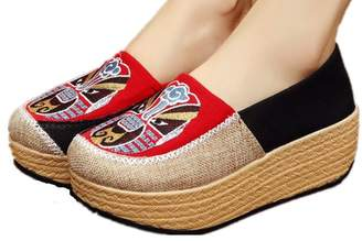Tianrui Crown Women and Ladies Chinese The Opera Faces Embroidery Casual Espadrilles Platform Shoe