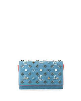 Christian Louboutin Paloma Loub In The Sky Denim Embellished Clutch Bag