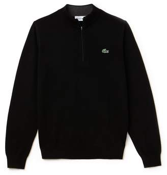Lacoste Men's SPORT Zip Stand-Up Neck Wool Jersey Golf Sweater