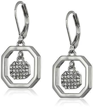 T Tahari Crystal Pave Drop In Octagon Ring Ear