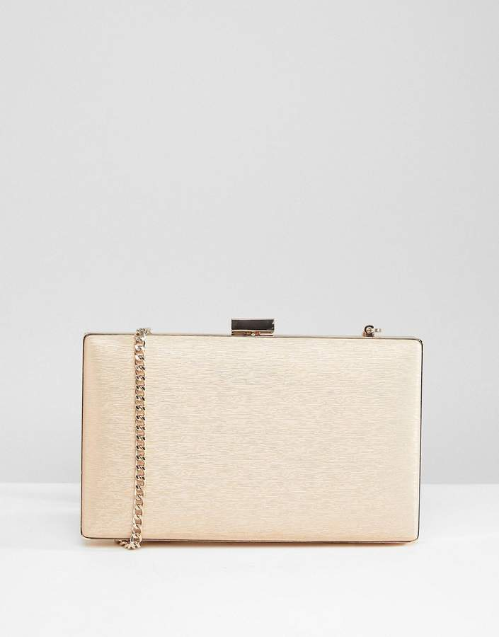 Dune Bridal Shimmer Box Clutch Bag with Chain Strap