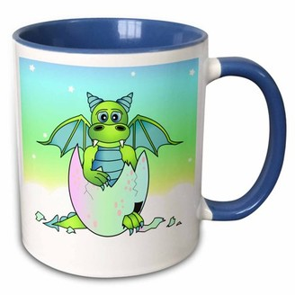 Green Baby 3dRose Dragon in Cracked Egg - Two Tone Blue Mug, 11-ounce