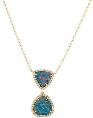 Rina Limor Fine Jewelry 18K Opal & Diamond Halo Pendant Necklace
