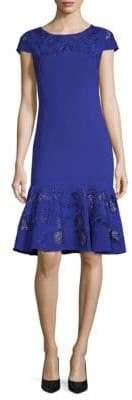 Marchesa Ruffled Hem Sheath Dress