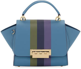 Zac Posen Eartha Iconic Racing Stripes Leather Crossbody Bag, Medium Blue