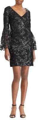 Lauren Ralph Lauren Lace Bell-Sleeve Sheath Dress