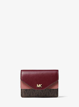 Michael Kors Two-Tone Leather And Logo Card Holder