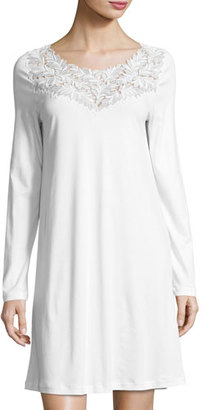 Hanro Frida Long-Sleeve Nightgown, White $214 thestylecure.com