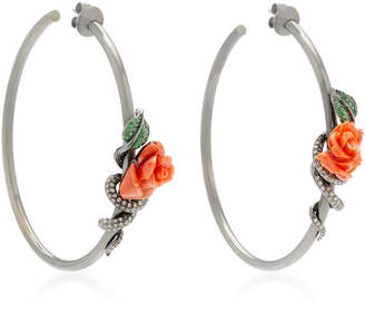 Wendy Yue Flower 18K White Gold Multi-Stone Hoop Earrings