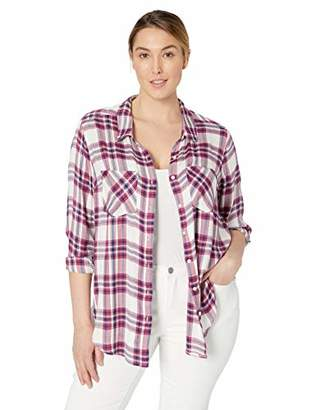 Lucky Brand Women's Plus Size Classic Button UP Plaid Shirt in Burgundy