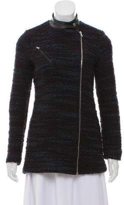 Yigal Azrouel Leather-Trimmed Bouclé Jacket