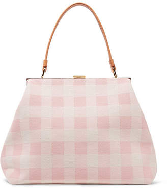 Mansur Gavriel Elegant Leather-trimmed Checked Cotton-canvas Tote - Baby pink