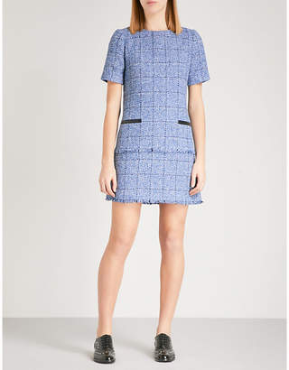Claudie Pierlot Raff leather-trimmed tweed dress