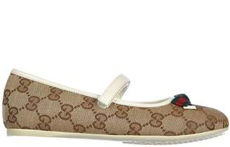 Gucci Girls Ballet Flats Ballerinas Baby Child Cotton gg US Size 377959 KH190 9753