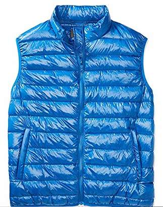 The Plus Project Men's Plus Size Quilted Down Vest Stand Collar 2X-Large Blue