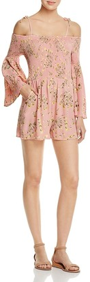 AQUA Floral Print Smocked Romper - 100% Exclusive $68 thestylecure.com