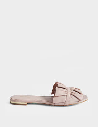 MICHAEL Michael Kors Bella Slide Shoes in Pink Nappa Leather and Snake Print