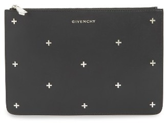 Givenchy Pandora Metal Cross Zip Pouch - Black $995 thestylecure.com