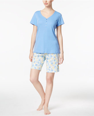 Charter Club Top and Bermuda Shorts Cotton Knit Mix-It Pajama Set, Only at Macy's $19.98 thestylecure.com