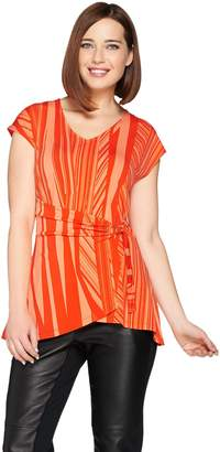 Halston H By H by Jet Set Jersey Printed Wrap Front Top