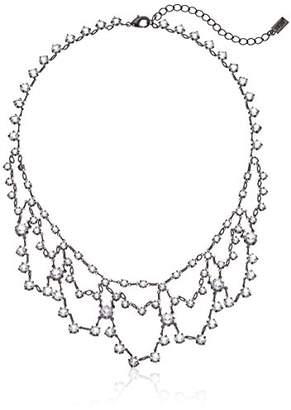 """Swarovski 1928 Jewelry Black-Tone Genuine Elements Crystal Bib Necklace 15"""" Adj."""