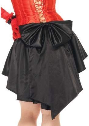 Leg Avenue Women's Plus Size Satin Burlesque Skirt With Train And Oversized Back Bow, Black, Plus Size