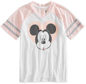 Disney Big Girls Glitter Mickey V-Neck Shirt