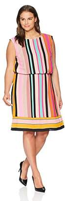 Adrianna Papell Women's Size Plus Fiesta Stripe Blouson Dress