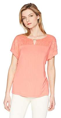 Calvin Klein Women's Short Sleeve with LACE Yoke and Hardware