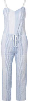 Lemlem Issa Grosgrain-trimmed Striped Cotton-blend Gauze Jumpsuit - Light blue