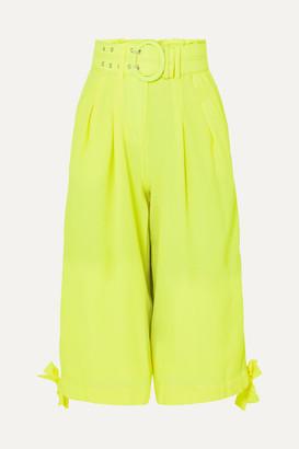 Nicholas Neon Cropped Crepe Wide-leg Pants - Chartreuse
