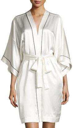 Neiman Marcus Contrast-Trimmed Silk Kimono Robe $180 thestylecure.com