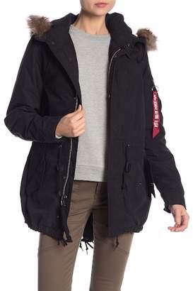 Alpha Industries Fishtail Faux Fur Trim Jacket
