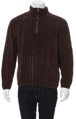 Zegna Sport Half-Zip Velvet Sweater