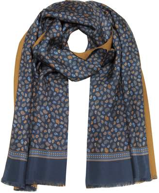 Forzieri Micro Paisley Print Blue Silk and Camel Modal Reversible Men's Scarf