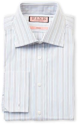 Thomas Pink Classic Fit Pinstripe Long Sleeve Dress Shirt